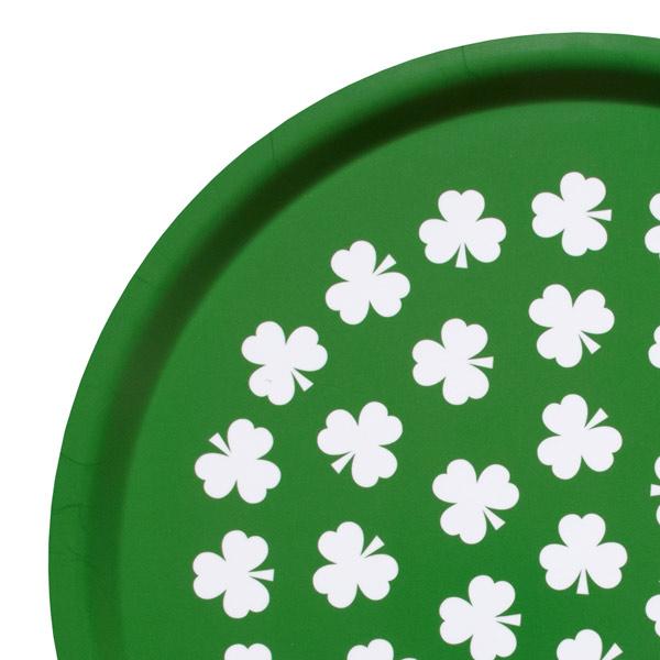 Rund bricka grön med klöver
