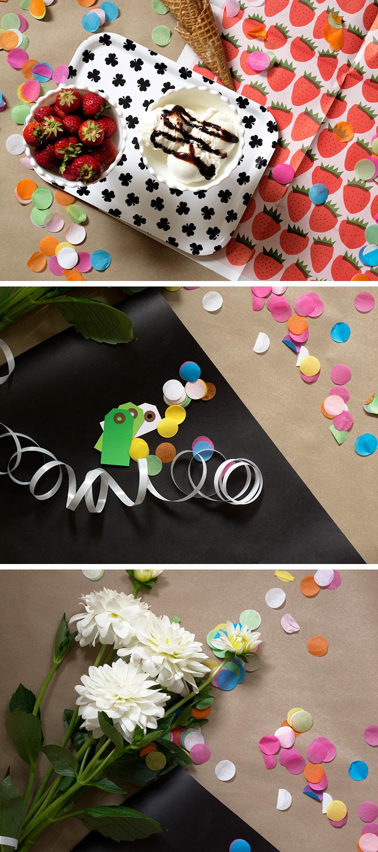Sommar kalas med konfetti konfettiballonger och fina paketinslagningar