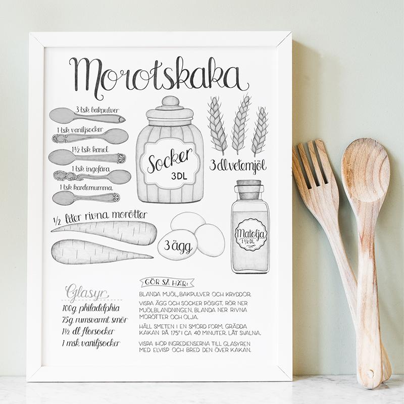 Poster recept morotskaka av Tovelisa