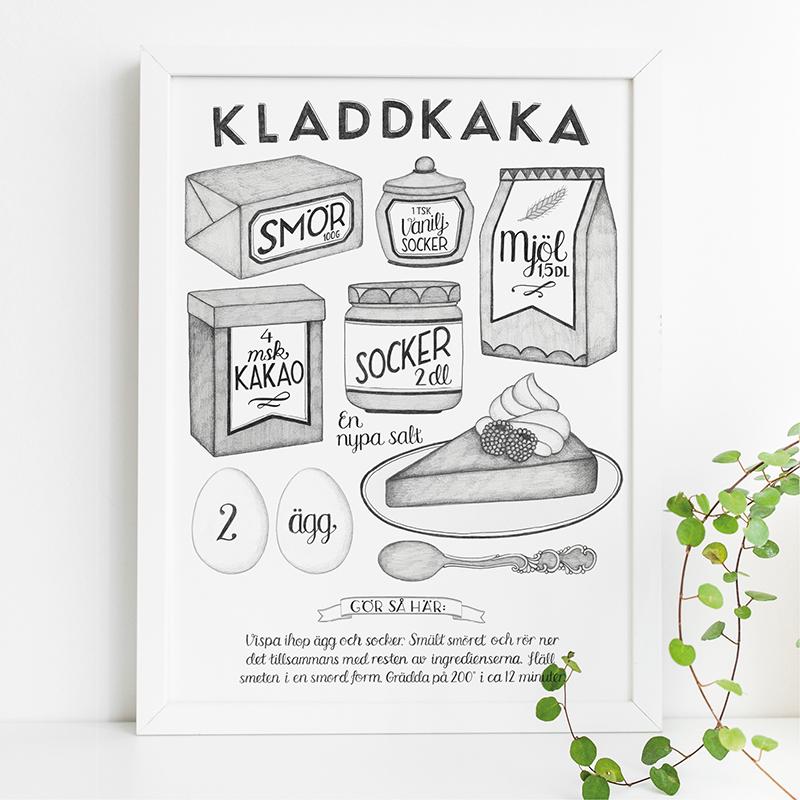 Poster recept kladdkaka av Tovelisa