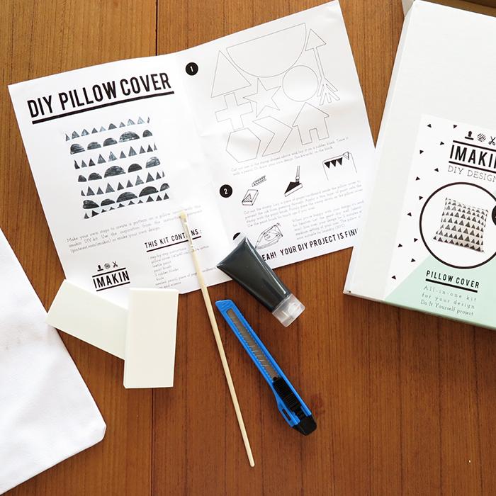 Gör ditt eget kuddfodral med stämplar - DIY kit kudde