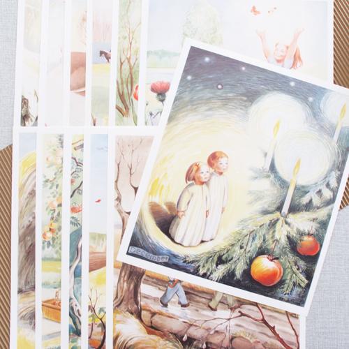 Månadstavlor januari till december med motiv av Kerstin Frykstrand, inramade