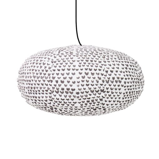Taklampskärm oval i grått och vitt tyg från Afroart