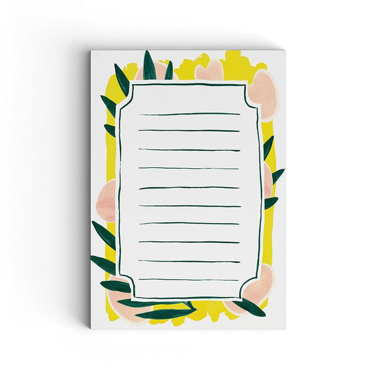 Anteckningsblock note pad med limmade blad från Pretty paper