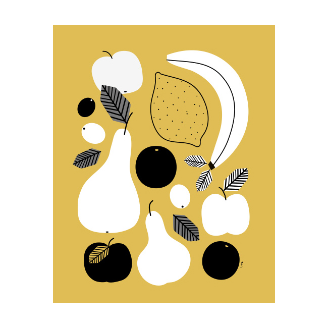 Poster med frukt i senapsgul från Isa Form