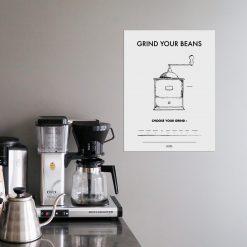 Poster Kaffe Grind your beans kaffekvarn mala kaffe från Owl Streets