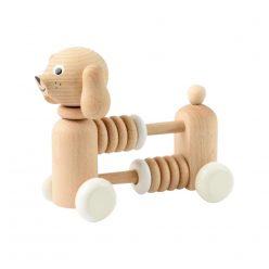 Räknare med ringar och skallra i ett, träleksak hund