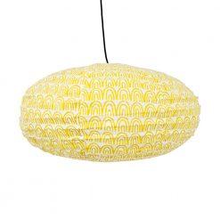 Taklampskärm oval i tyg av rislampemodell i mönstret Curve gul från Afroart