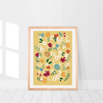 Poster ABC gul och senapsgul med blommor av illustratör Frida Hultman