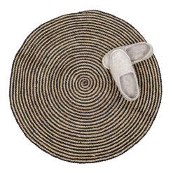 Rund randig matta i jute Fiber från Afroart