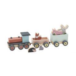 Tåg i trä med lok, två vagnar och djur som får åka med Edvin från Kids Concept