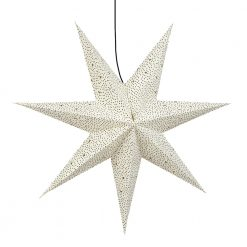 Prickig julstjärna eller adventsstjärna i vitt och svart Pebbles från Afroart