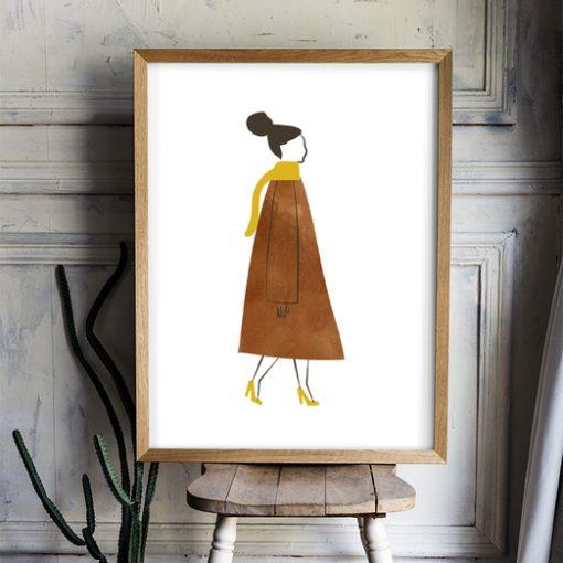Poster kvinna i kappa och halsduk Ingrid av Isa Form