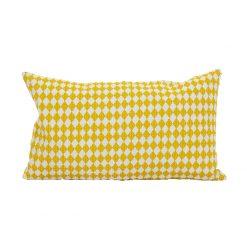 Liten avlång kudde från Afroart med gult harleqin mönster Circus