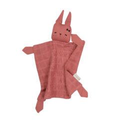 Snuttefilt eller snuttis i ekologisk bomull från Fabelab rosa kanin Bunny Clay