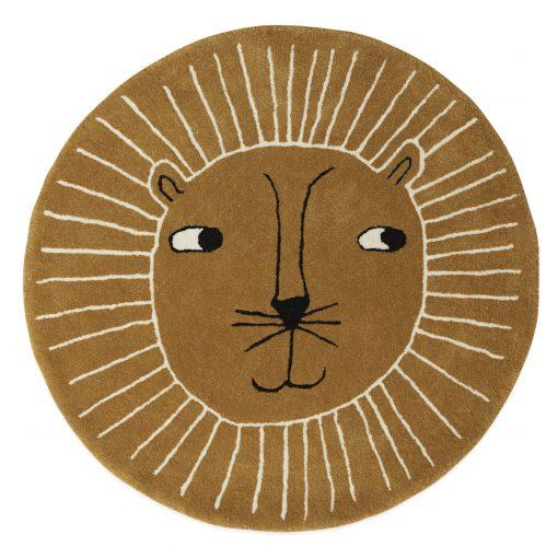 Rund matta till barnrum i ull Lejon från OYOY