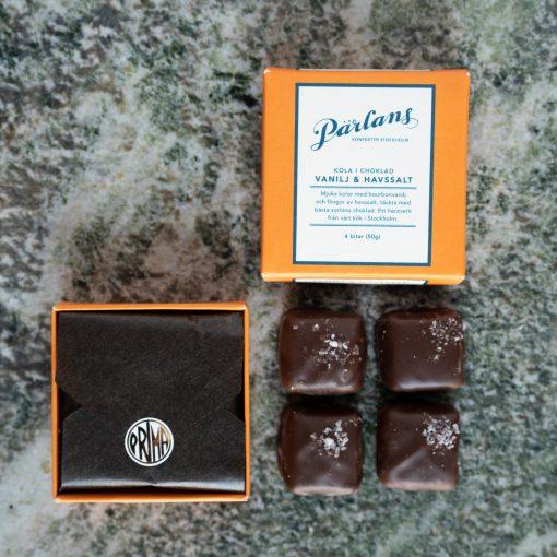 Kola i choklad från Pärlans Konfektyr i Stockholm Vanilj och havssalt