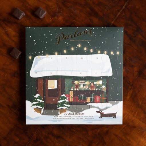 Julkalender med chokladdoppad kola från Pärlans Konfektyr