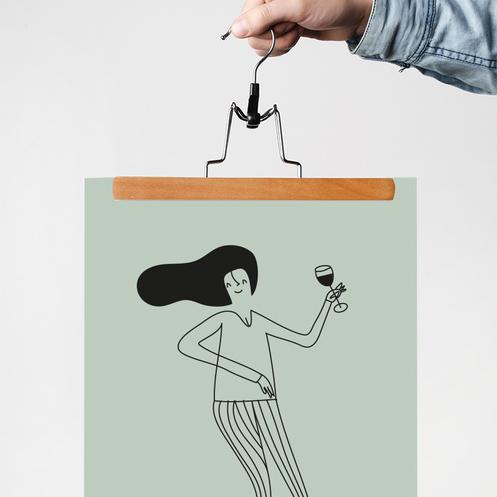 Poster print med kvinna Partypinglan från IsaForm