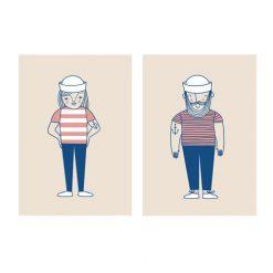 Poster print med sjökvinna och sjöman Sailor från IsaForm