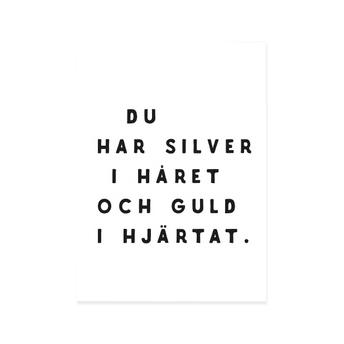 Poster print med text Guldperson från IsaForm