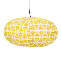 Lampskärm i tyg gul/vit Lupine oval från Afroart