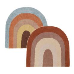 Matta Regnbåge i olika färger barnmatta i ull OYOY Rainbow