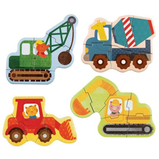 Nybörjarpussel med traktorer och lyftkranar Construction från Petit Collage