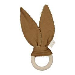 Bitring i trä och öron i ekologisk bomull Bunny senapsgul från Fabelab