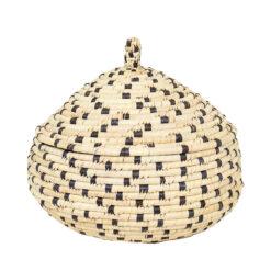 Flätad korg med lock Palm Dot pumpa M från Afroart