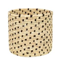 Flätad korg Palm Dot papperskorg från Afroart