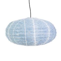 Lampskärm Lemongrass blå i tyg oval från Afroart