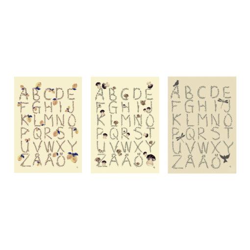 Poster ABC med bokstäver och alfabetet av Kajsa Visual eller Kajsa Hagelin