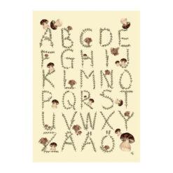 Poster ABC med bokstäver, alfabetet och svampar av Kajsa Visual eller Kajsa Hagelin
