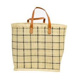 Flätad korg väska Raffia stor rutig från Afroart