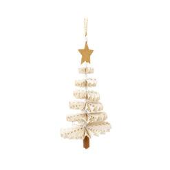 Julhänge prickig gran Fold Fir i gult och vitt från Afroart