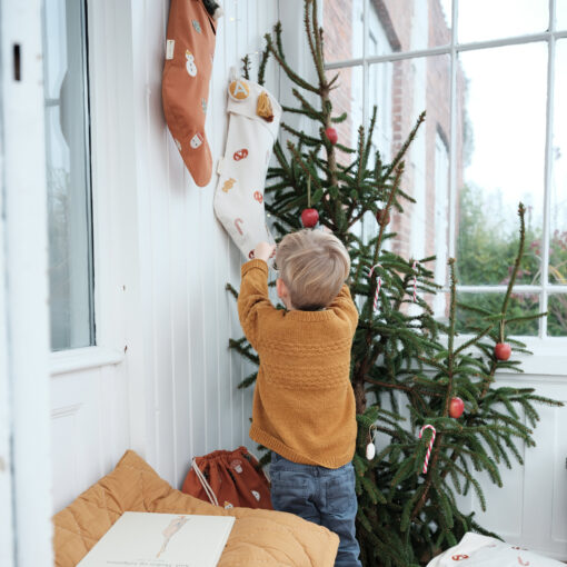 Julstrumpa i ekologisk bomull med julgodis Candy från Fabelab