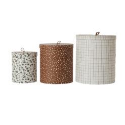 Rund låda med lock med olika fina mönster från OYOY
