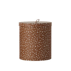 Rund låda med lock med brun botten och vita klöver från OYOY