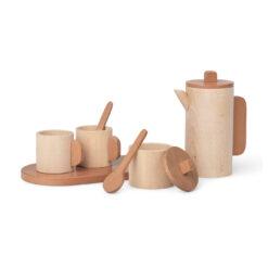 Teset och teservis med tekanna och koppar i trä Toro från Ferm Living