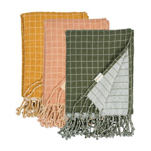 Rutig muslinfilt i ekologisk bomull Grid från Fabelab