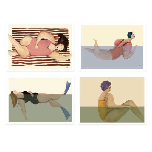 Poster med badande kvinnor och damer av Kajsa Hagelin eller Kajsa Visual