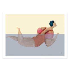 """Poster med badande kvinnor och damer """"Simpuff"""" av Kajsa Hagelin eller Kajsa Visual"""