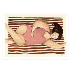 """Poster med badande kvinnor och damer """"Strand"""" av Kajsa Hagelin eller Kajsa Visual"""
